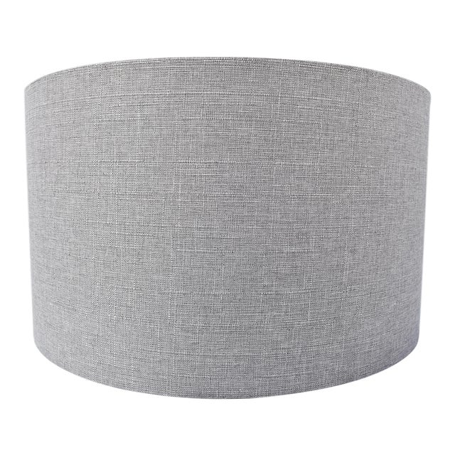 Grey Linen Drum Shade For Sale