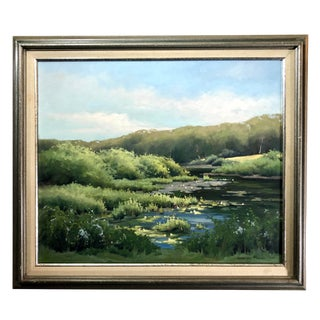 Impressionist Style Landscape Painting by American Artist, Influenced by Monet For Sale