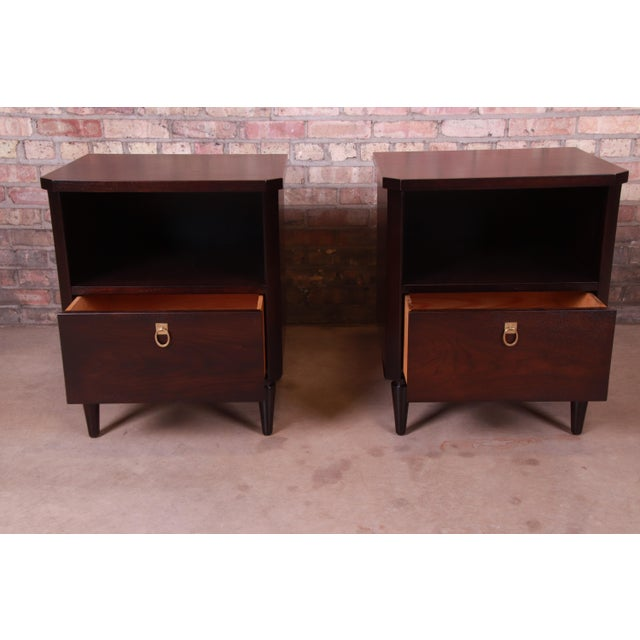Metal Robsjohn-Gibbings for Widdicomb Mid-Century Modern Walnut Nightstands, Newly Refinished For Sale - Image 7 of 13