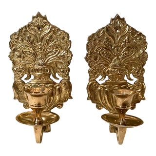 Vintage Neoclassical Brass Candle Sconces - a Pair For Sale