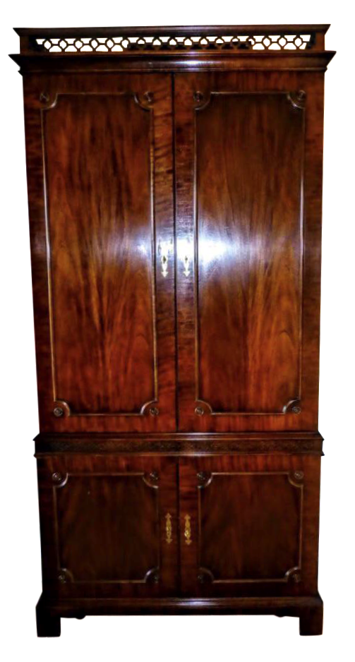 Vintage Century Cherry Wood Bar Armoire Cabinet