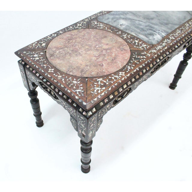 Marble & Mother of Pearl Inlay Table - Image 7 of 10