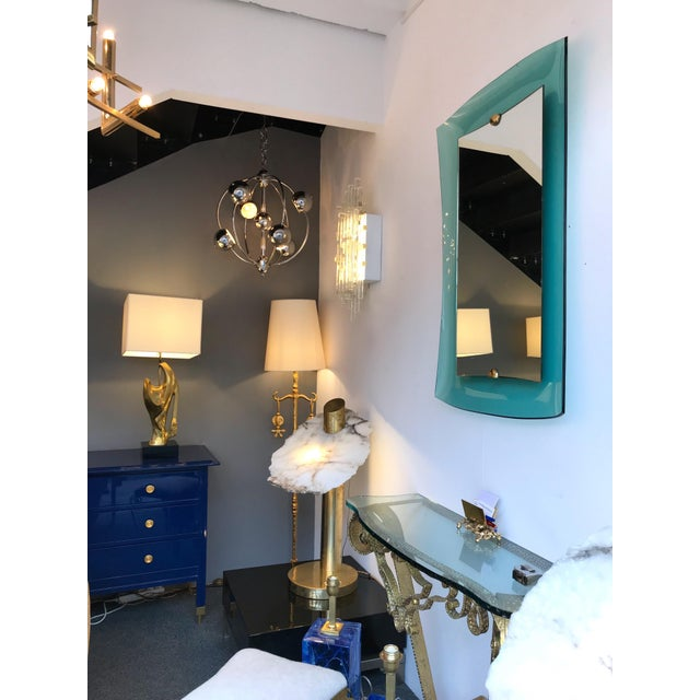 Curve Glass Brass Mirror by Cristal Art, 1960s For Sale - Image 10 of 12