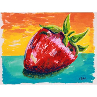 Strawberry Abstract Still Life Painting For Sale