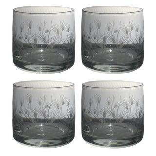 Mid-Century Style Etched Rocks Glassware With Wheat Pattern - Set of 4 For Sale