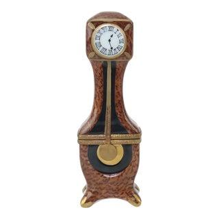 Vintage Hand Painted Limoges Porcelain Clock Trinket Box For Sale