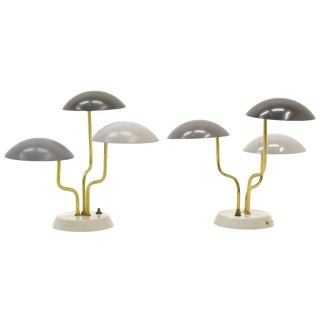Pair of Gino Sarfatti for Arteluce Three Shade Table Lamp in Shades of Gray For Sale