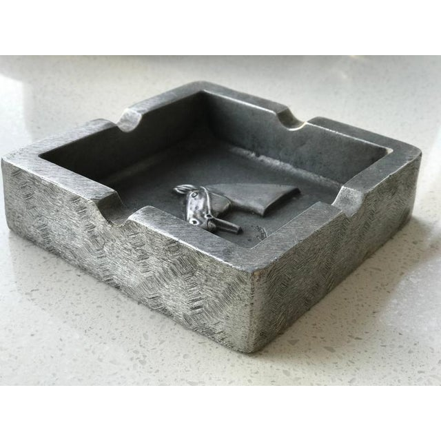 Metal Mid-Century Modern Equestrian Theme Ashtray in Pewter For Sale - Image 7 of 10