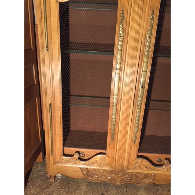 19th Century French Carved 2 Door Chicken Wire Vitrine For Sale - Image 10 of 12
