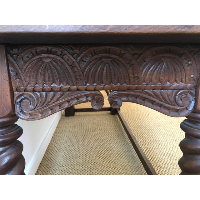 Oak Jacobean Style Carved Oak Refectory Table For Sale - Image 7 of 13