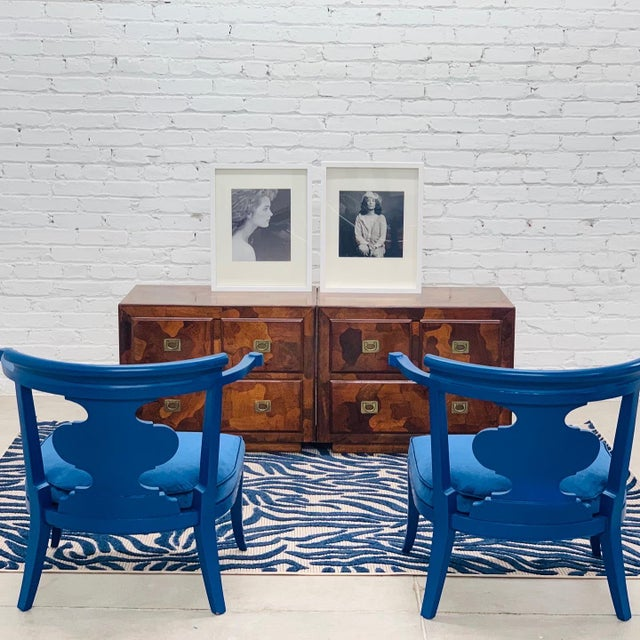 James Mont Mid Century Chinoiserie Style Horseshoe Chairs Redefined in Klein Blue - a Pair For Sale - Image 4 of 12