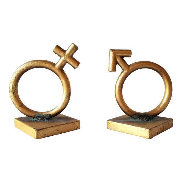 1970's C.Jere 'Sexes' Gold Iron Bookends - a Pair For Sale