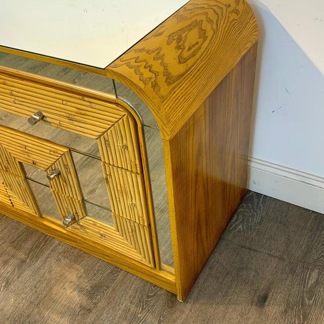 Fabulous Midcentury Mirror Inlaid Segmented Bamboo Dresser or Credenza For Sale - Image 10 of 12