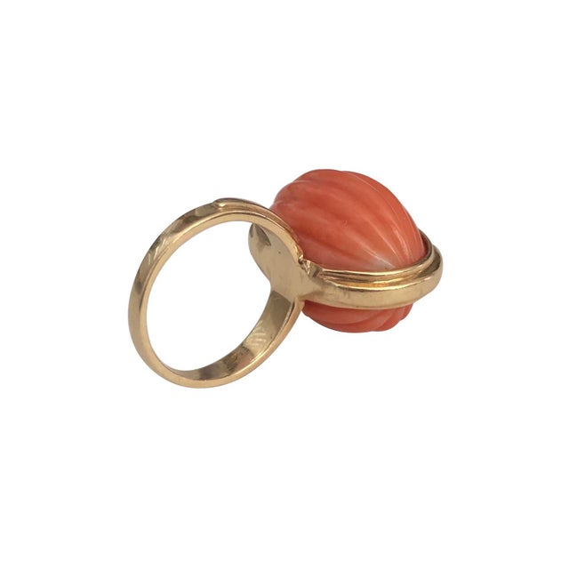 1970s Vintage 14k Gold Carved Coral Cocktail Ring For Sale - Image 5 of 6