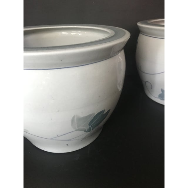 Pair of Chinese Blue & White Ceramic Leaf Planters For Sale - Image 11 of 13