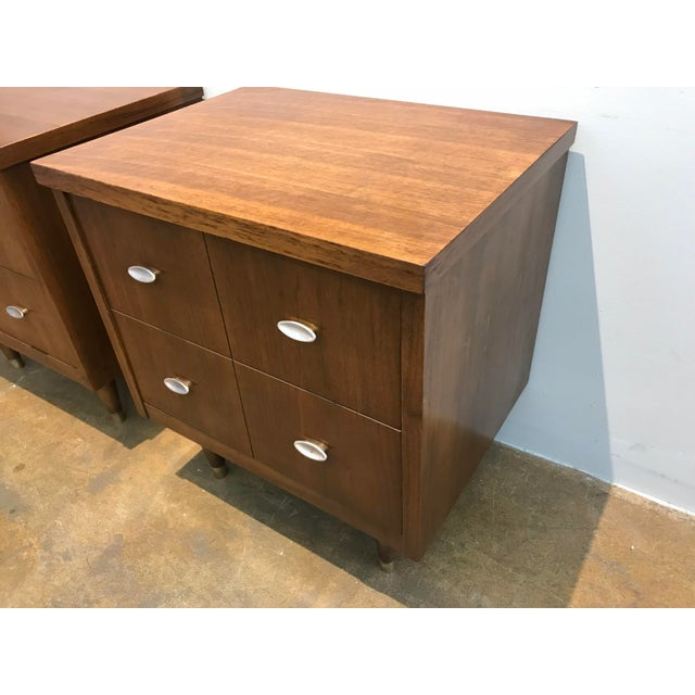 Mid-Century Modern Mid-Century Modern Walnut Nightstands - a Pair For Sale - Image 3 of 6