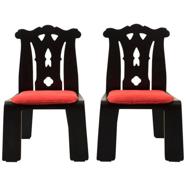 Pair of Robert Venturi Chippendale Chairs for Knoll For Sale - Image 10 of 10