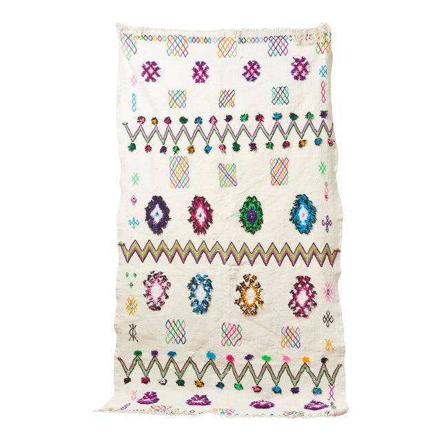 White & Multicolor Moroccan Blanket - Image 1 of 4