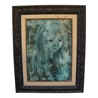 Abstract Portrait of a Girl Oil Painting on Canvas For Sale