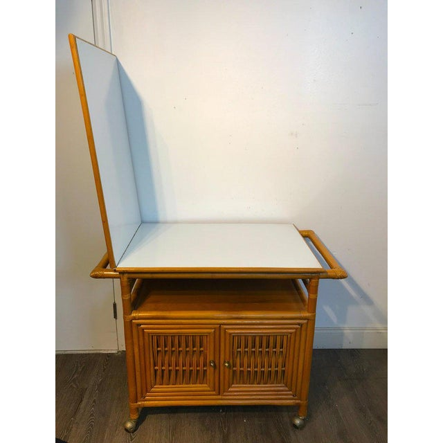 Mid 20th Century Midcentury Rattan Expandable Bar Cart For Sale - Image 5 of 13