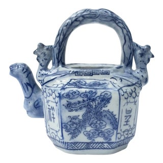Blue and White Canton Chinese Export Porcelain Teapot With Top Handle For Sale