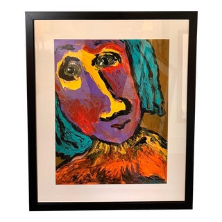 Late 20th Century Colorful Portrait Painting For Sale