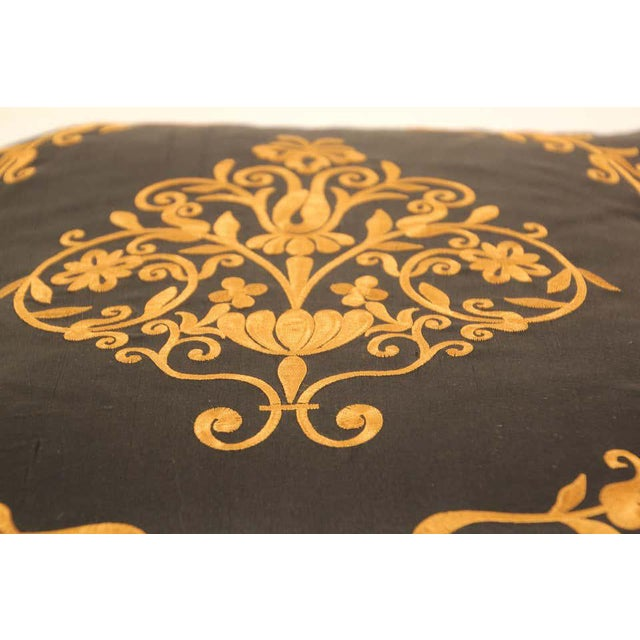 Black Embroidered Black Silk Decorative Throw Pillow with Tassels For Sale - Image 8 of 11