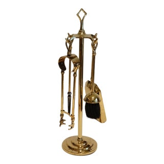 Diminutive English Brass Fireplace 5 Piece Tools Set For Sale