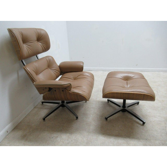 Vintage Mid Century Leather Zebra Wood Lounge Chair & Ottoman - Image 12 of 12