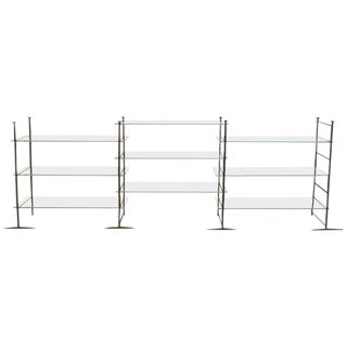 Jacques Duval-Brasseur, Bronze Etagere With Glass Shelves For Sale