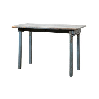 1940s Rustic Blue Painted Console Table For Sale