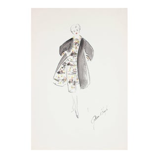 Gibson Bayh Fashion Illustration in Gouache by Fashion Designer Frederick Gibson Bayh, 1950s For Sale