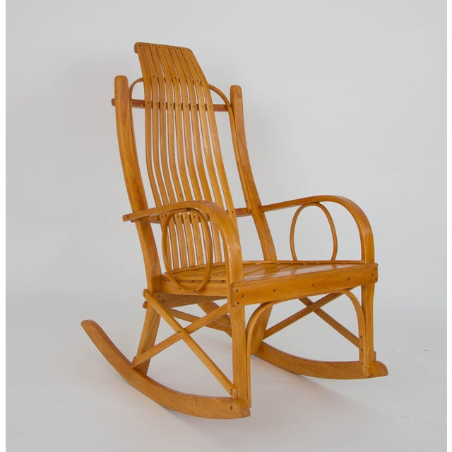 Brown Bentwood Adirondack Rocking Chair with Slatted Seat For Sale - Image 8 of 9