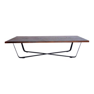 Custom Teak and Iron Coffee Table For Sale