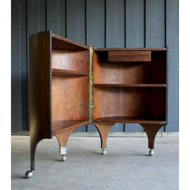 Contemporary Rosewood Handmade Bar Cabinet on Casters Attr. To Henry Glass For Sale - Image 3 of 13