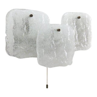 1960s Kalmar Ice Glass Panel Wall Light For Sale
