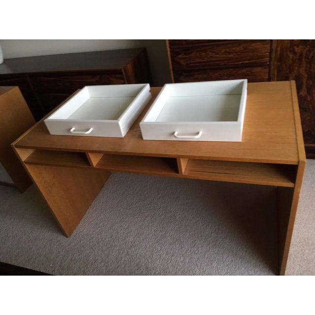 Mid-Century Modern Danish Modern Mid-Century Teak & White Two-Drawer Desk For Sale - Image 3 of 13