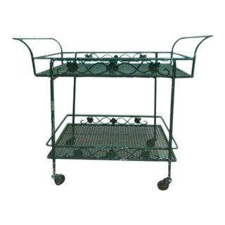 Vintage Green Iron Outdoor Bar Cart