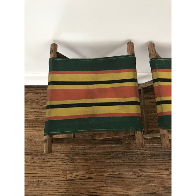 Vintage Striped Folding Canvas Camp Stools - A Pair For Sale - Image 5 of 8