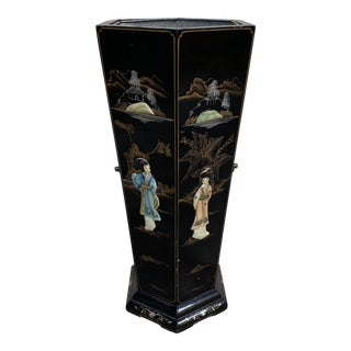 Hand Painted Chinese Soapstone Umbrella Stand For Sale