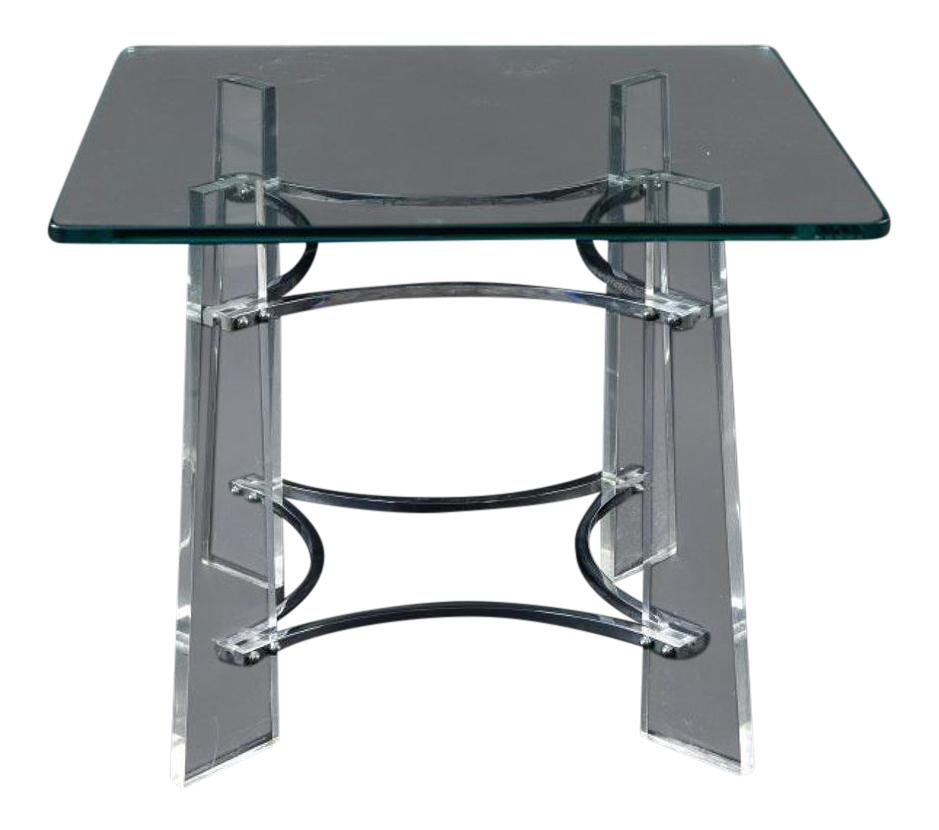 Charles Hollis Jones Style Lucite Side Table For Sale