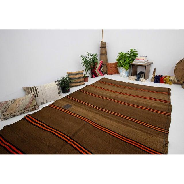 1960s Vintage Orange & Brown Striped Wool Kilim Rug- 5′10″ × 9′8″ For Sale In Los Angeles - Image 6 of 7