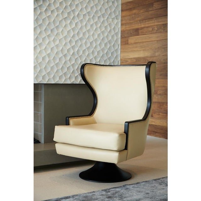 Erin V. Brackpool Wingback Swivel Chair For Sale - Image 5 of 6