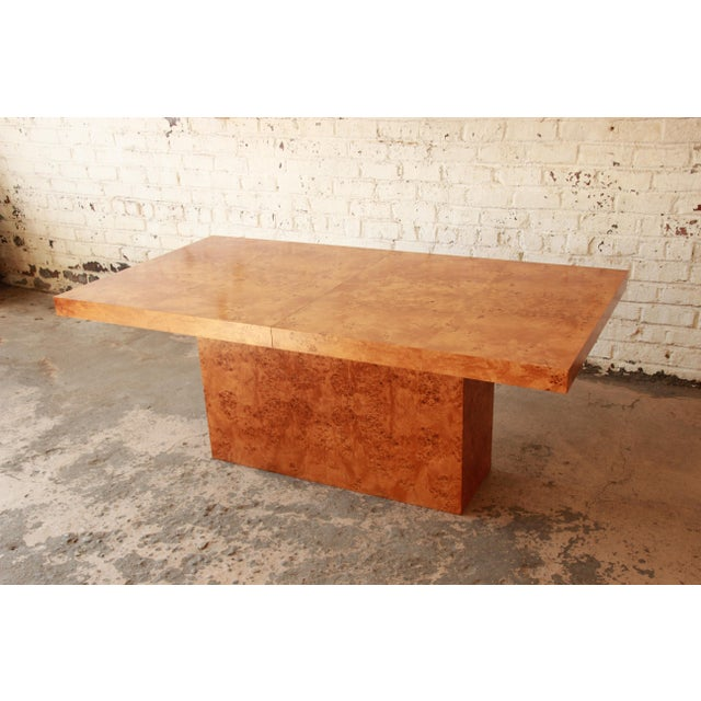 Milo Baughman Burled Olive Wood Pedestal Dining Table - Image 8 of 11