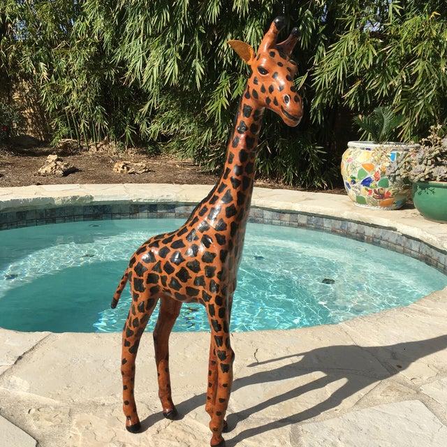 Vintage Bohemian Leather Giraffe - Image 8 of 8