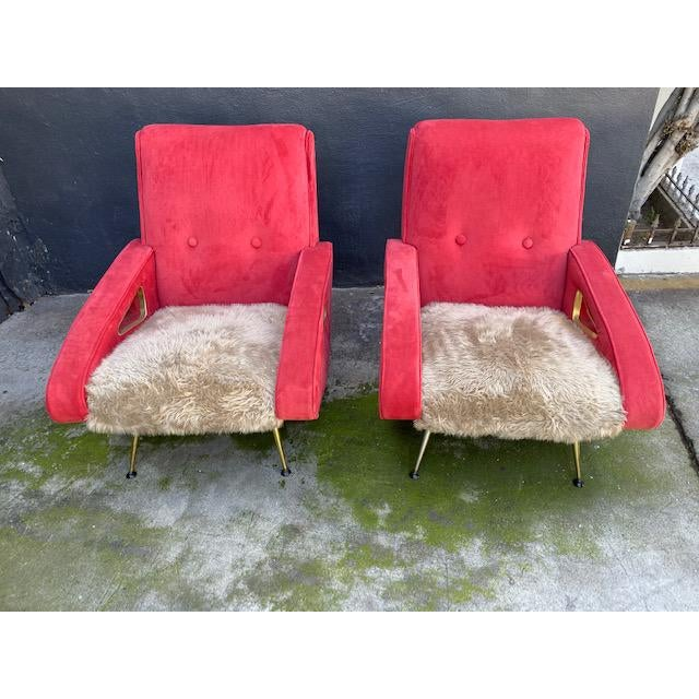 Red Pair of Exuberant Maurice Mourra Mid-Century Chairs For Sale - Image 8 of 8