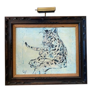 Vintage Spotted Leopard Painting With Art Light For Sale