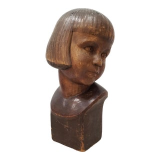 "Hans Huggler-Wyss (Swiss, 1877-1947) ""Young Child"" Wooden Sculpture C.1920 For Sale"