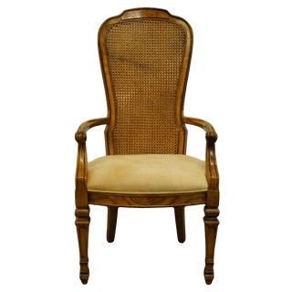 Bernahrdt Furniture Italian Provincial Cane Back Dining Arm Chair For Sale
