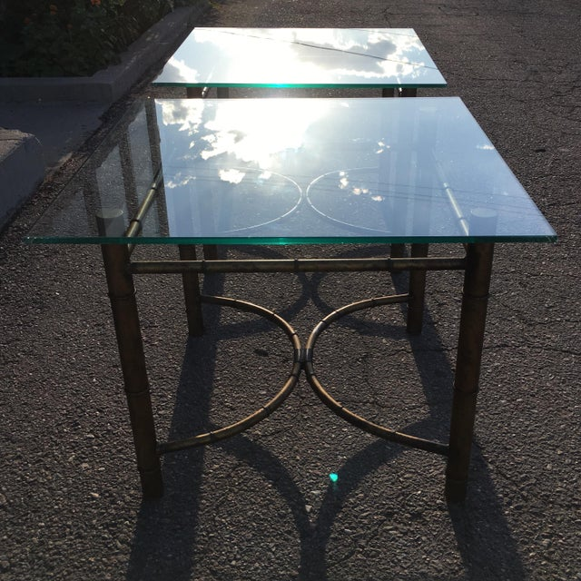 Vintage Faux Bamboo Gold Metal & Glass Side Tables - a Pair For Sale - Image 11 of 12